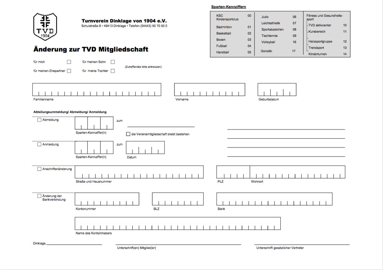 TVD-Mitgliedschaft-Änderung