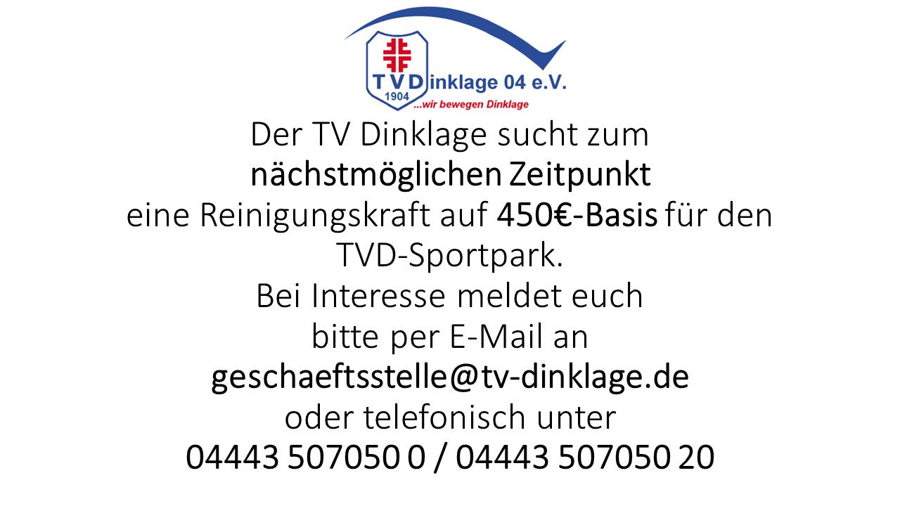 Reinigungskraft gesucht TVD Sportpark