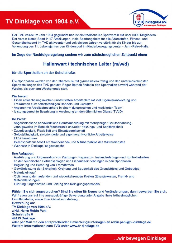 2020-05-25_Stellenausschreibung Hallenwart/technischer Leiter